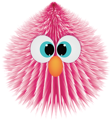 Cute fluffy pink bird