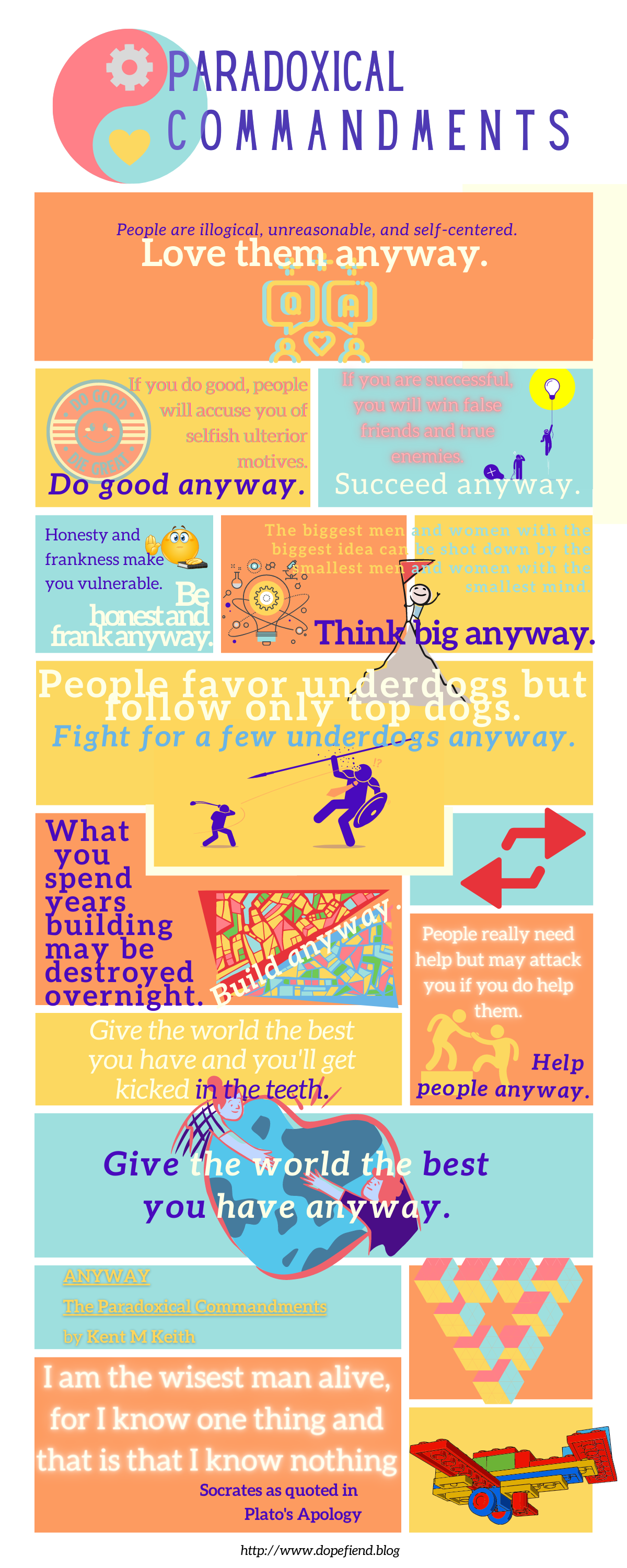 paradoxical commandments love them anyway, do good anyway, succeed anyway, do good anyway, be honest and frank anyway, think big anyway, fight for a few underdogs anyway, build anyway, help people anyway, and give the world the best you have anyway.